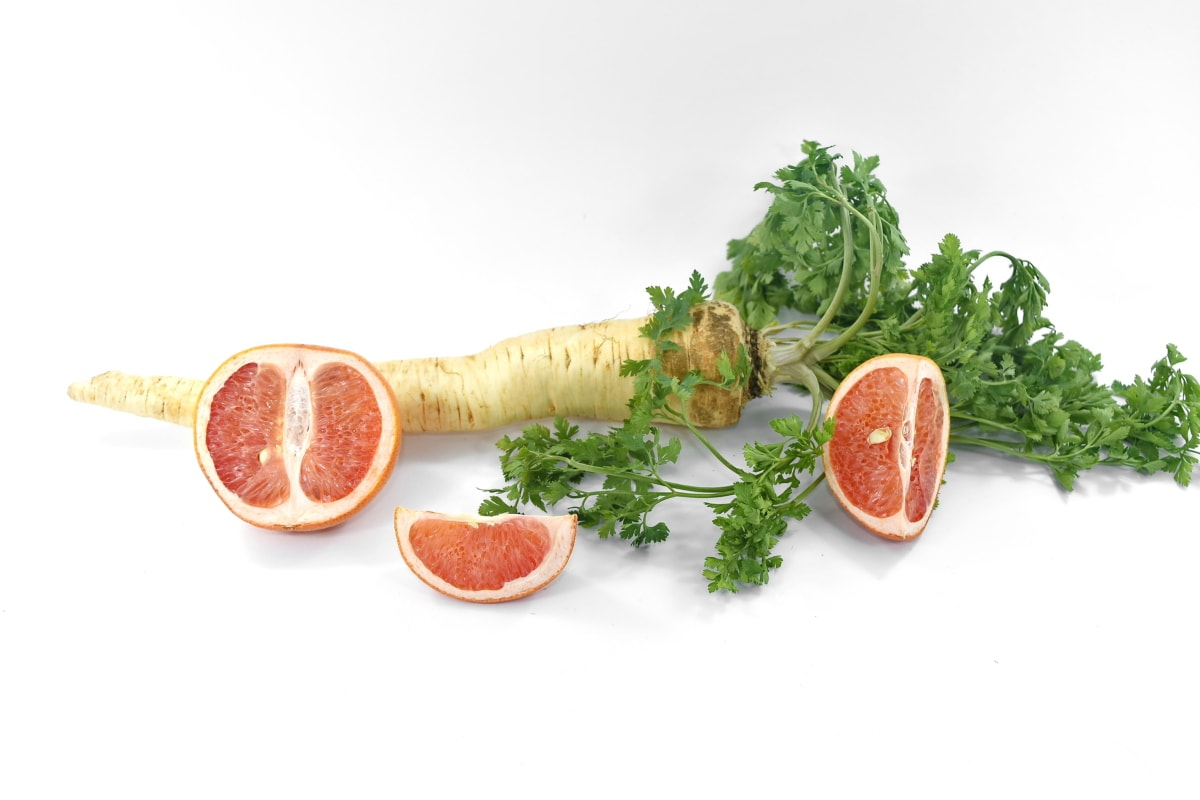antioxidant, fruit, grapefruit, groceries, parsley, slices, vegetables, vitamin C, meal, diet