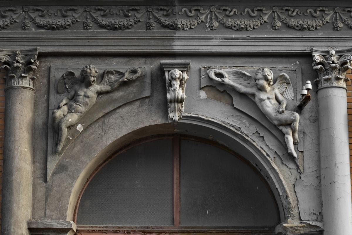 angel, art, artwork, black and white, divide, religion, sculpture, building, facade, landmark