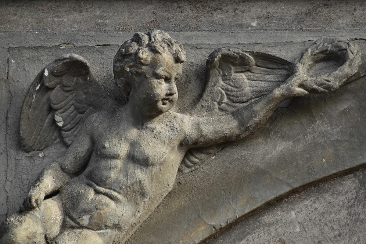 Ange, oeuvre, noir, gargouille, sculpture, ailes, statue de, art, architecture, antique