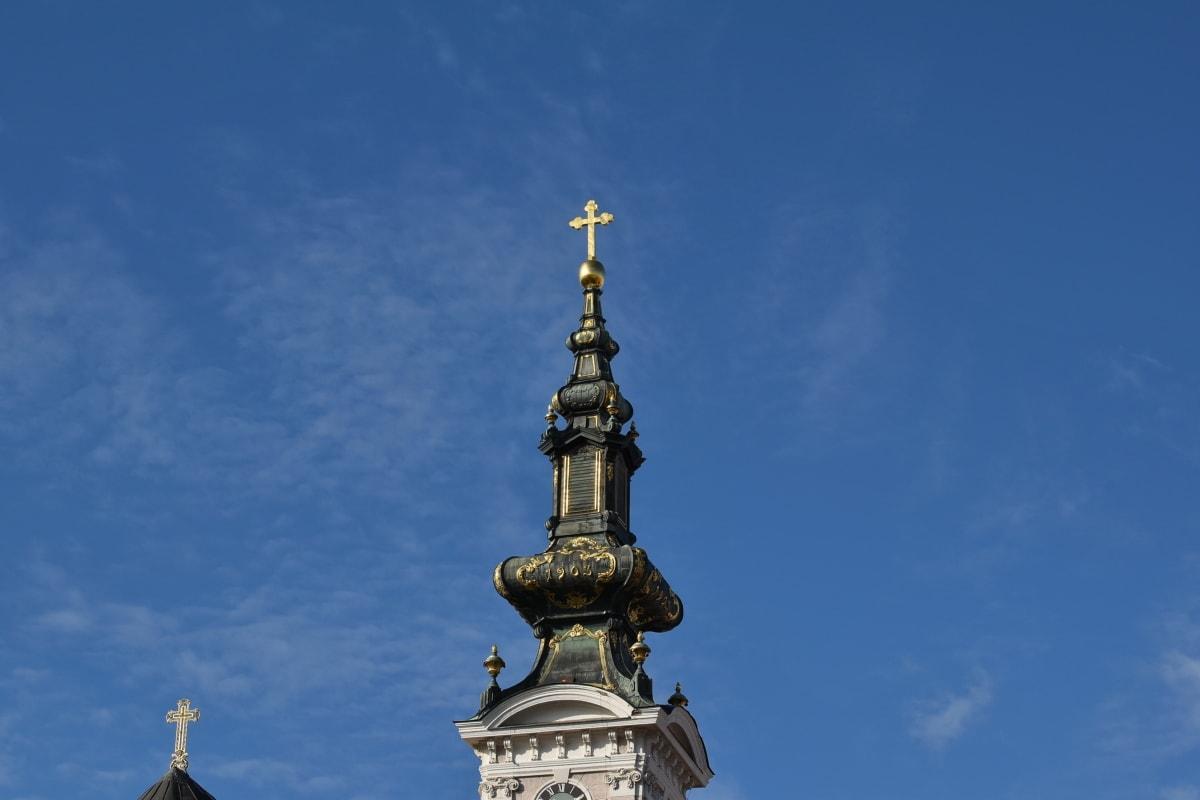 barroco, Torre da igreja, Cruz, património, Marco, Igreja Ortodoxa, Sérvia e Montenegro, raio de sol, Igreja, arquitetura