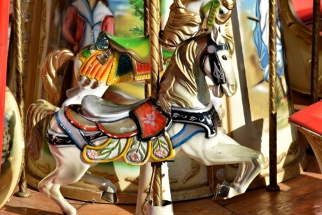 cheval, Carrousel, mécanisme de, Carnaval, Ride, sculpture, art, traditionnel, amusement, vieux