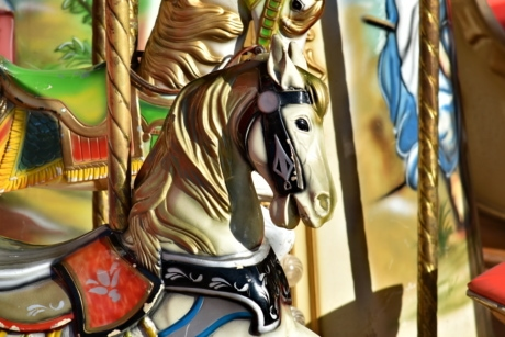 horse, carnival, sculpture, art, statue, fun, color, classic, old, antique