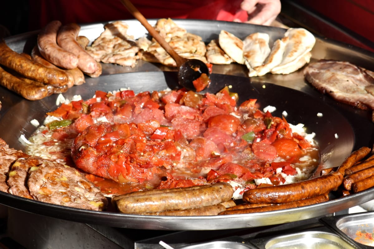 meat, pan, meal, barbecue, food, lunch, cooking, restaurant, pork, delicious