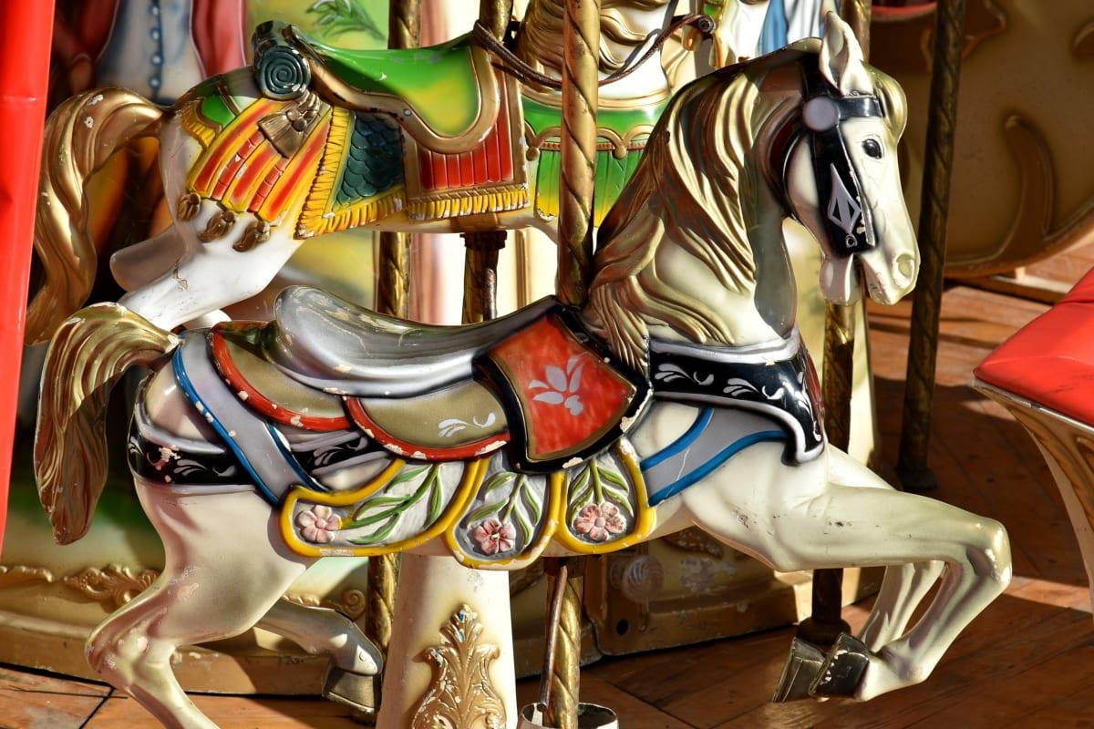 huvi, värikäs, Viihde, hevonen, vanhanaikaisia, lelut, vuosikerta, karuselli, ratsastaa, Carnival