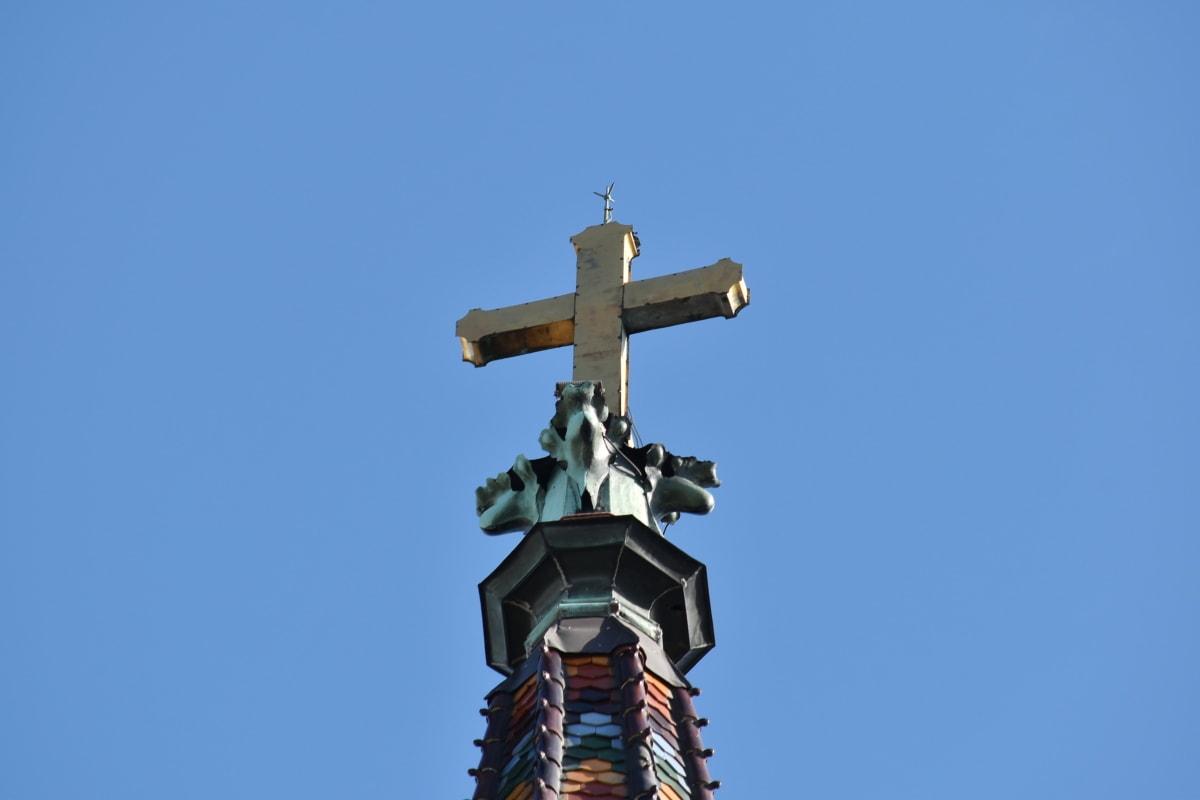 bầu trời xanh, Nhà thờ, đầy màu sắc, Cross, cao, đầu trang, thiết bị, ổn định, kiến trúc, ngoài trời