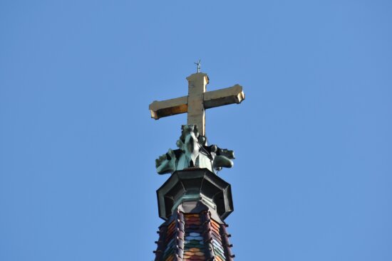 blue sky, church tower, colorful, cross, high, top, device, stabilizer, architecture, outdoors