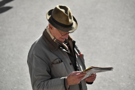 eyeglasses, grandfather, hat, newspaper, pensioner, reading, senior, man, uniform, people