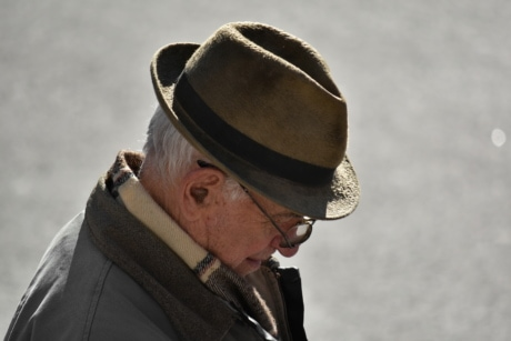 eyeglasses, face, grandfather, hat, jacket, serious, wrinkle, clothing, man, people