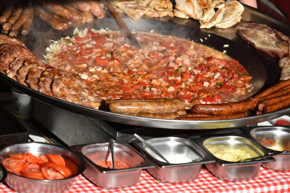 mesa de la cocina, almuerzo, preparación, restaurante, salchicha, plato, comida, carne, alimentos, cocina