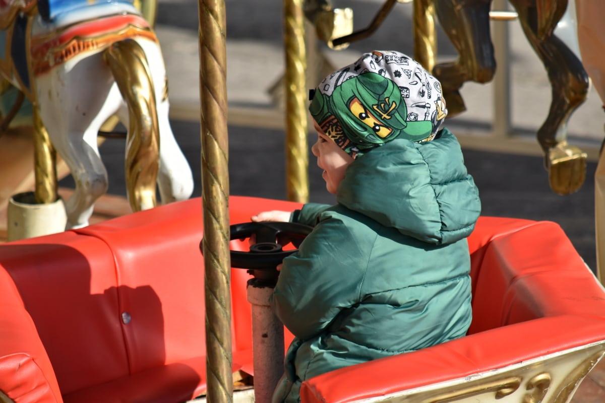 Eğlence, Karnaval, atlıkarınca, Çocuk, keyfi, mutlu, binmek, Festivali, kıyafet, Retro