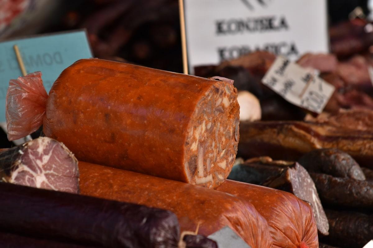 groceries, handmade, homemade, merchandise, pork, pork loin, salami, sausage, food, ingredients
