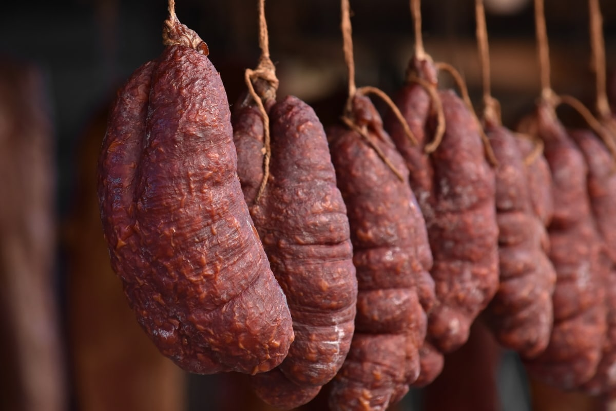 cholesterol, hanging, homemade, meat, organic, sausage, pork, food, beef, dry