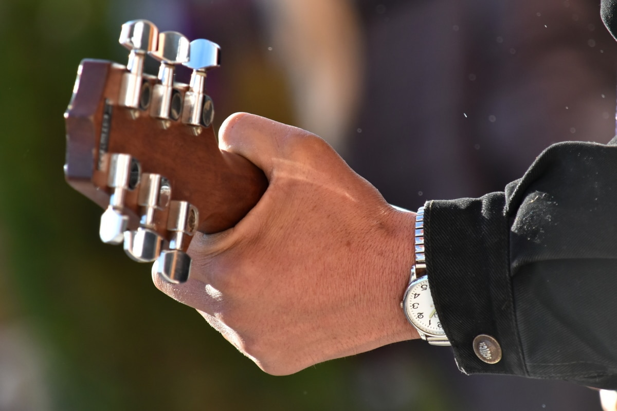 acoustic, guitar, guitarist, hand, musician, skin, wristwatch, device, man, music