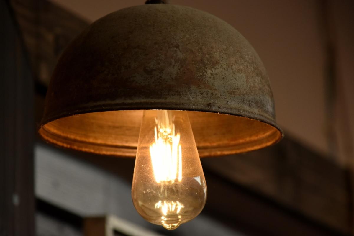 lamp, light brown, light bulb, rust, shade, indoors, retro, antique, old, classic