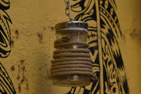 graffiti, hanging, lamp, rope, wall, retro, dirty, antique, old, outdoors