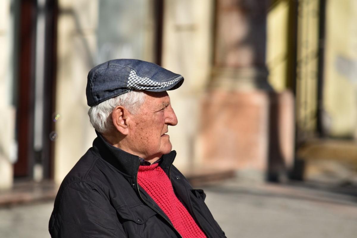 αυτοπεποίθηση, για ηλικιωμένους, σακάκι, προφίλ, Ανώτερος, Πλάγια όψη, Ρολόι, πρόσωπο, άνθρωπος, Οδός