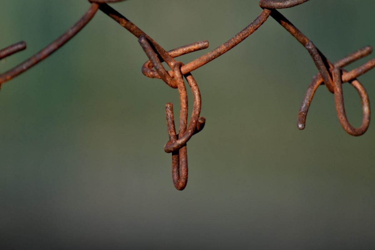 ograda, hrđe, žice, linija, željezo, čelik, sigurnost, zaštita, staro, metalik