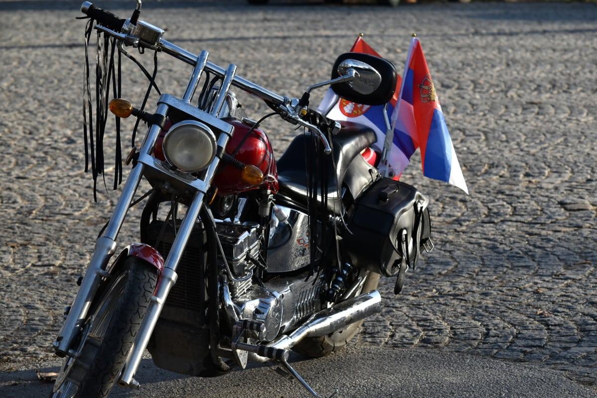 chrome, moteur, moto, chaussée, volant de direction, véhicule, rue, roue, Itinéraire, moto