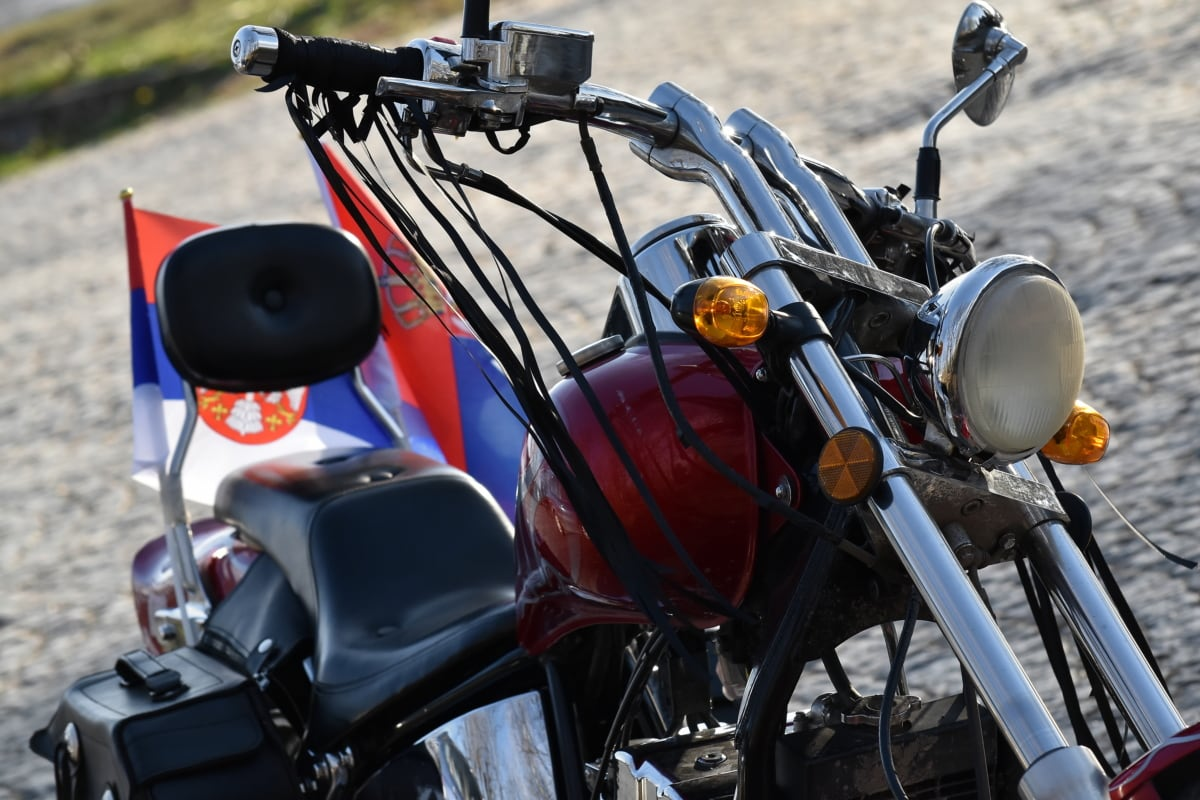 chrome, headlight, metallic, motorcycle, steering wheel, vehicle, street, motorbike, wheel, vintage