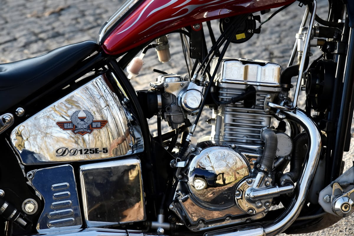 chrome, engine, exhaust, fuel, industry, mechanism, motorcycle, power, stainless steel, bike