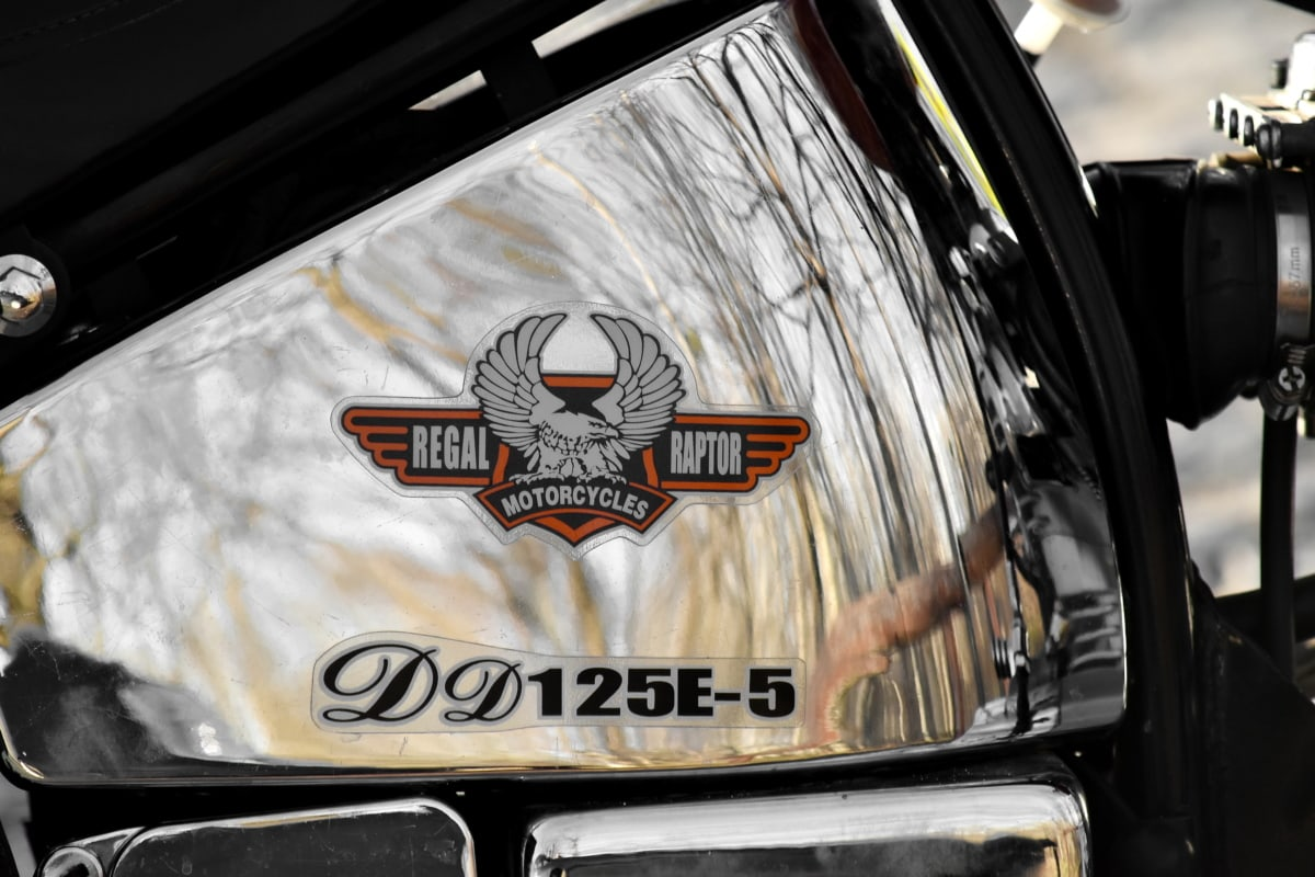 brand, chrome, famous, fuel, gasoline, metallic, motorcycle, reflection, sign, vehicle