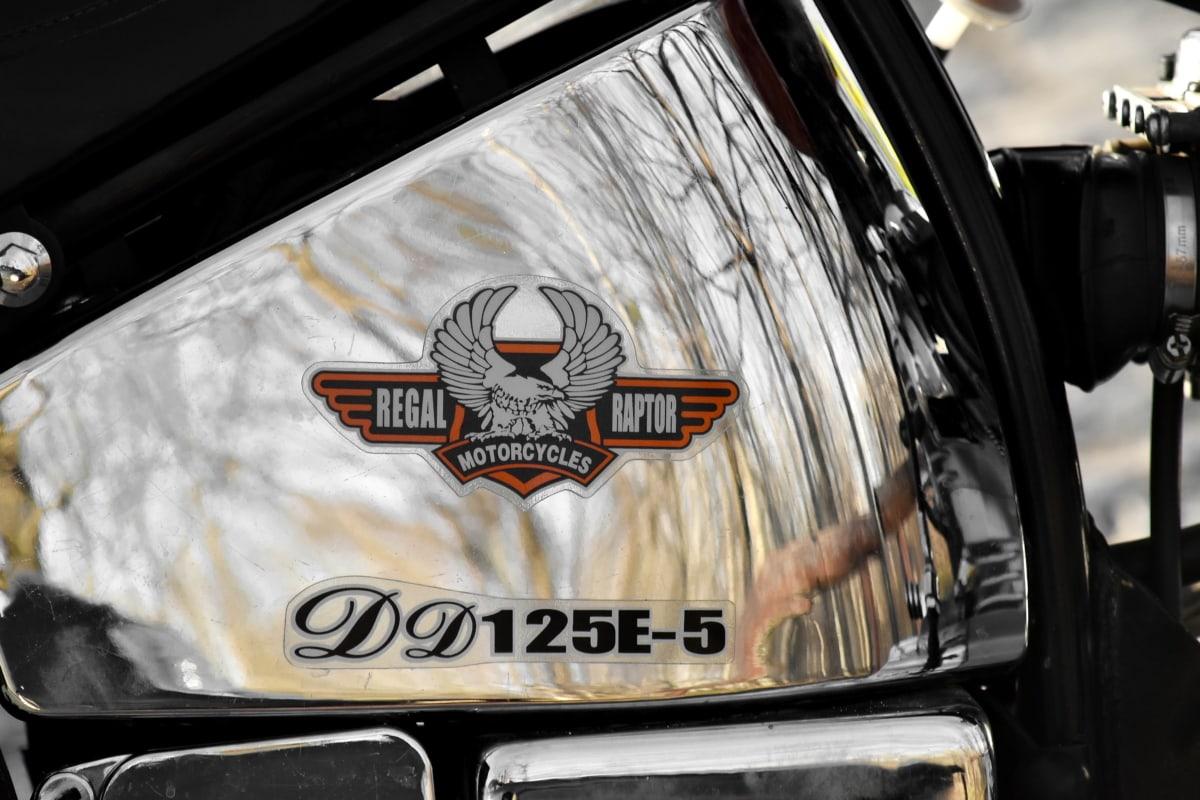 Značka, chrom, slavný, palivo, benzin, kovové, motocyklu, reflexe, podepsat, vozidlo