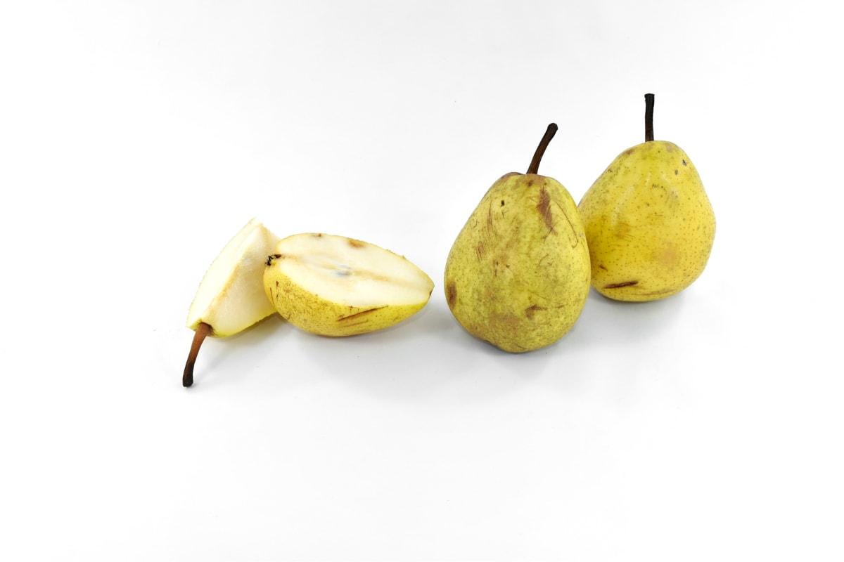 half, organic, pears, ripe fruit, slices, sweet, vitamin C, produce, vitamin, food