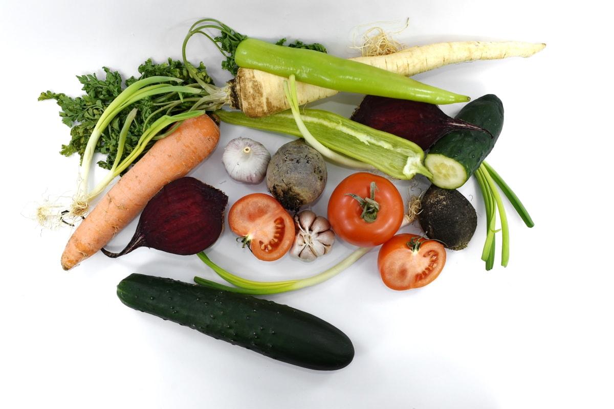 červená řepa, mrkev, okurka, česnek, Pór, petržel, kořeny, zelenina, vitamín C, čerstvý