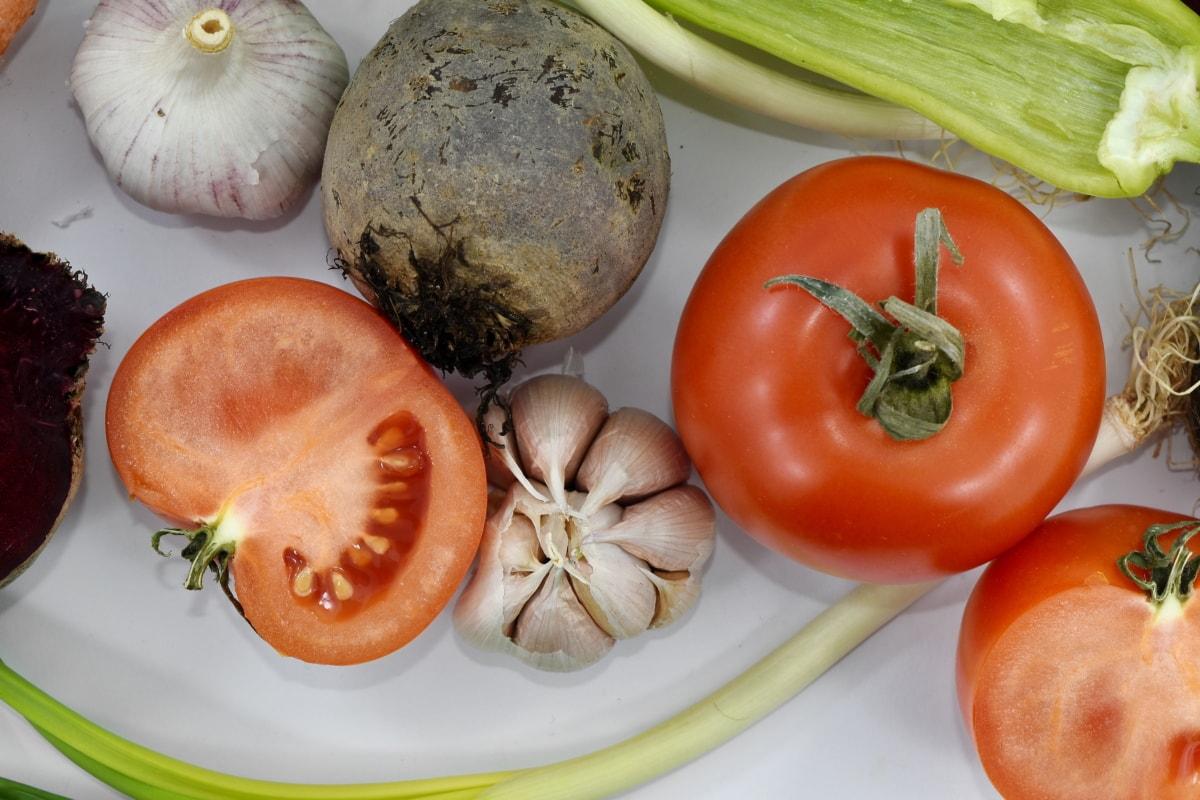 barbabietola rossa, peperoncino rosso, aglio, porro, C vitamina, cipolla selvatica, cibo, produrre, verdure, pomodoro