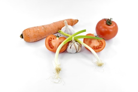 antioxidant, carrot, garlic, tomatoes, vitamin C, wild onion, healthy, tomato, fresh, vegetable