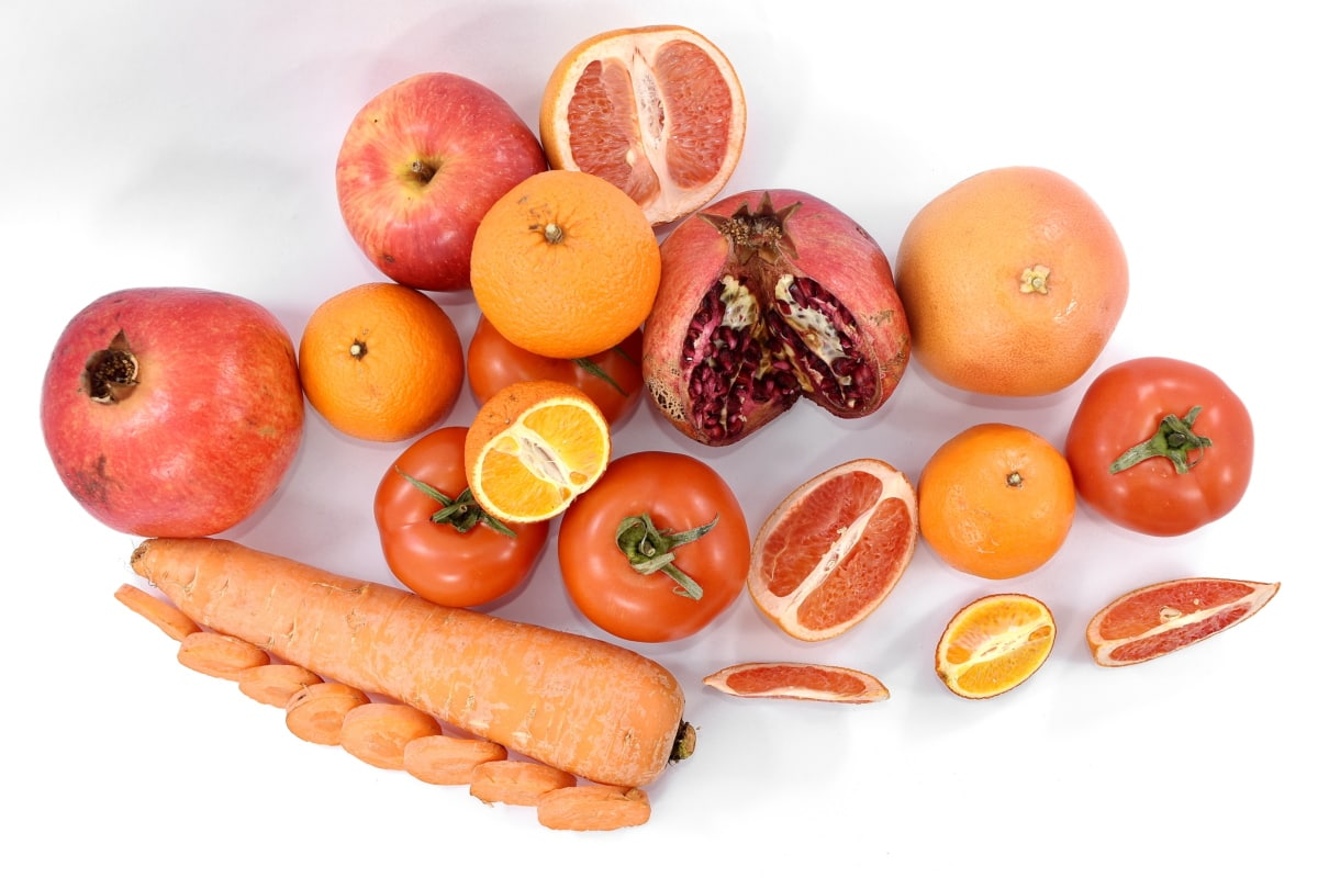 carota, agrumi, delizioso, pompelmo, Melograno, rosso, frutta matura, pomodori, verdure, C vitamina