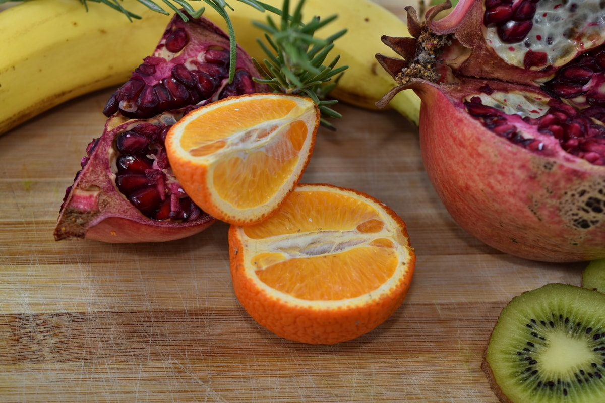 Banana, colazione, tavolo da cucina, Kiwi, mandarino, Melograno, frutta matura, rosmarino, fresco, agrumi
