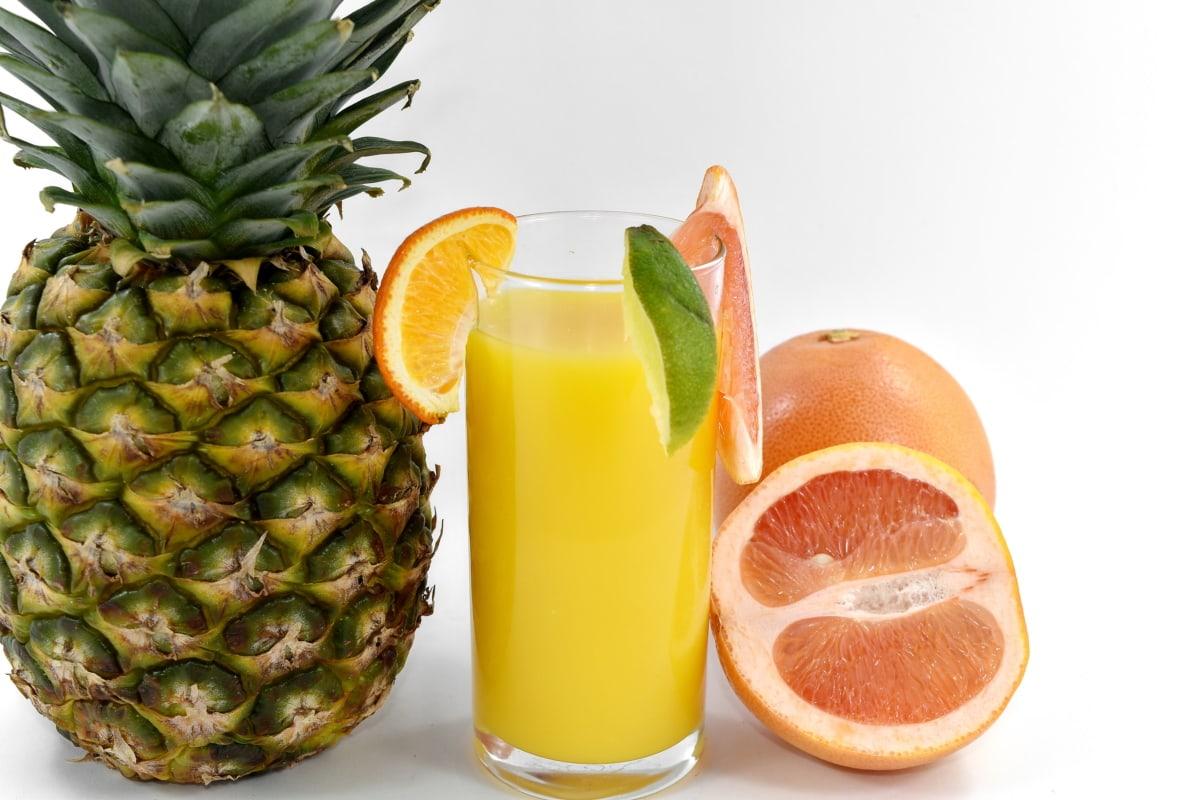 飲料, 食事, 新鮮な水, フルーツ ジュース, グレープ フルーツ, 有機, パイナップル, ビタミンC, 熱帯, ジュース