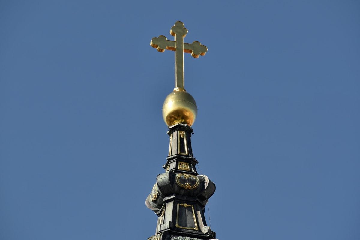 umjetnička djela, kršćanstvo, crkveni toranj, križ, zlato, zlatni sjaj, religija, arhitektura, crkva, staro