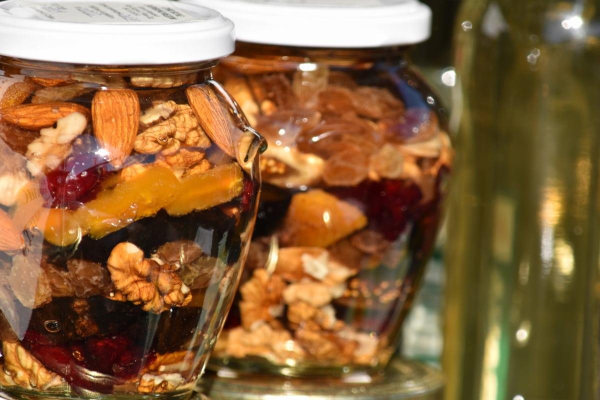 Obst, hausgemachte, zu bewahren, Walnuss, Essen, Glas, Glas, traditionelle, drinnen, vertikale