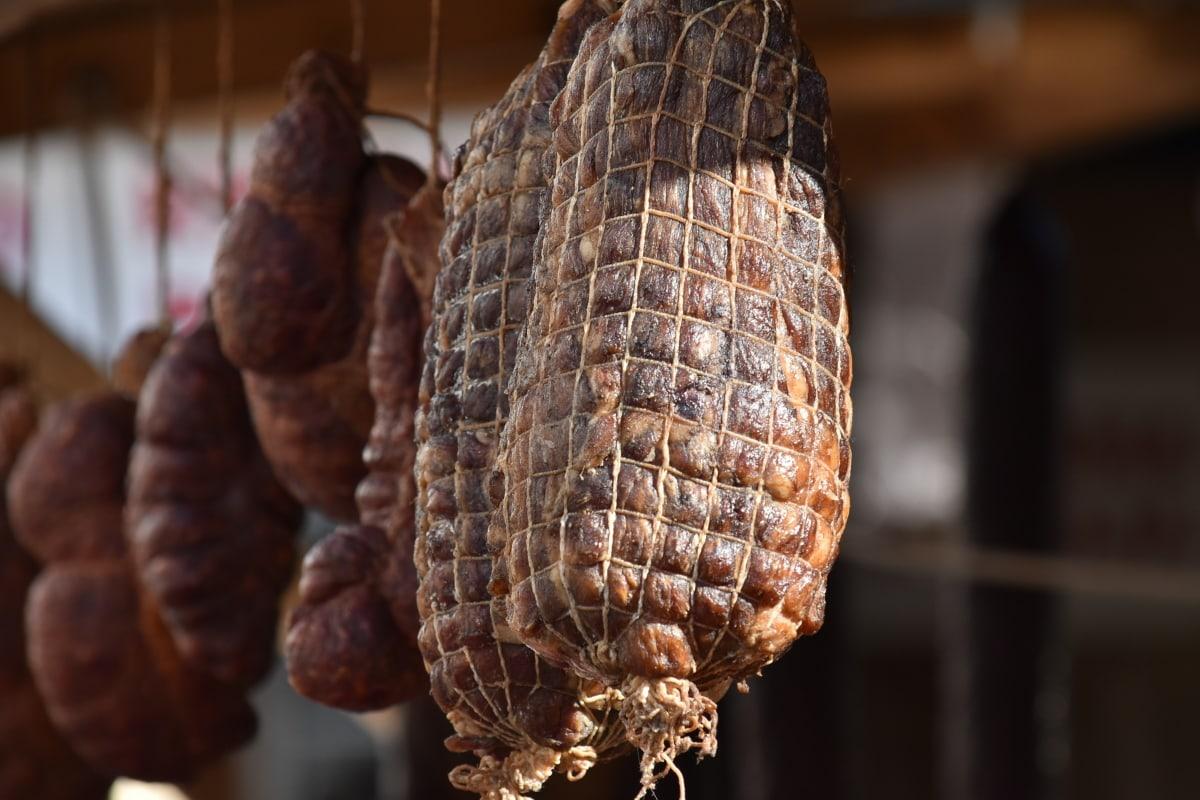 suché, předsazení, domácí, maso, vepřové maso, klobása, tradiční, jídlo, trh, dřevo