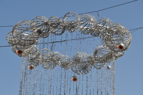 decoration, electricity, light bulb, street, wires, wire, steel, iron, hanging, line