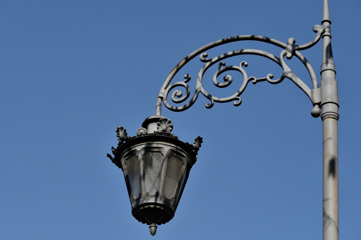 artwork, baroque, cast iron, handmade, iron, lamp, street, device, architecture, old