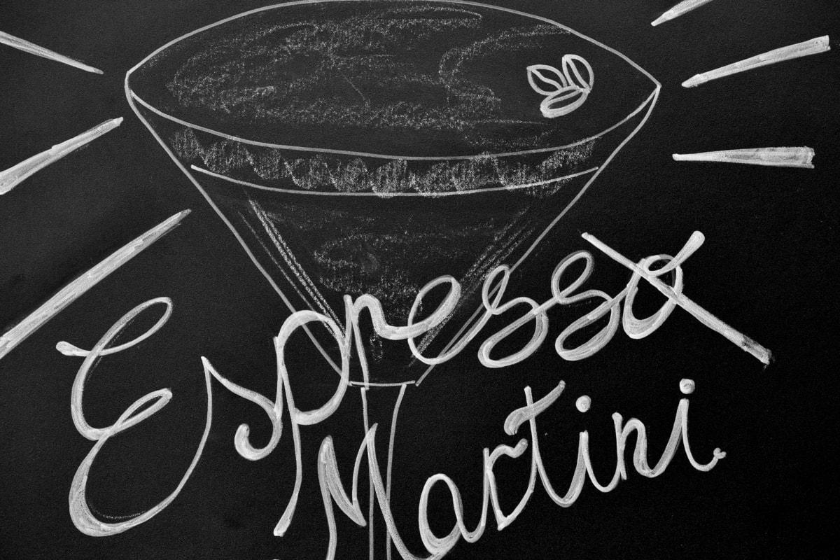 noir et blanc, dessin craie, boisson, Expresso, signe, Tableau noir, craie, texte, symbole, alimentaire