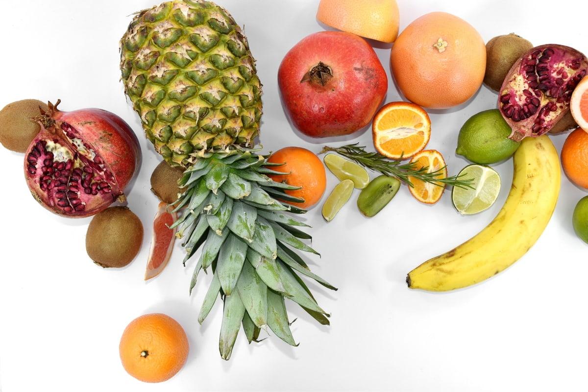 banana, citrus, exotic, kiwi, lemon, lime, mandarin, pineapple, pomegranate, ripe fruit