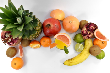 banana, grapefruit, groceries, kiwi, lime, pineapple, pomegranate, food, orange, fruit