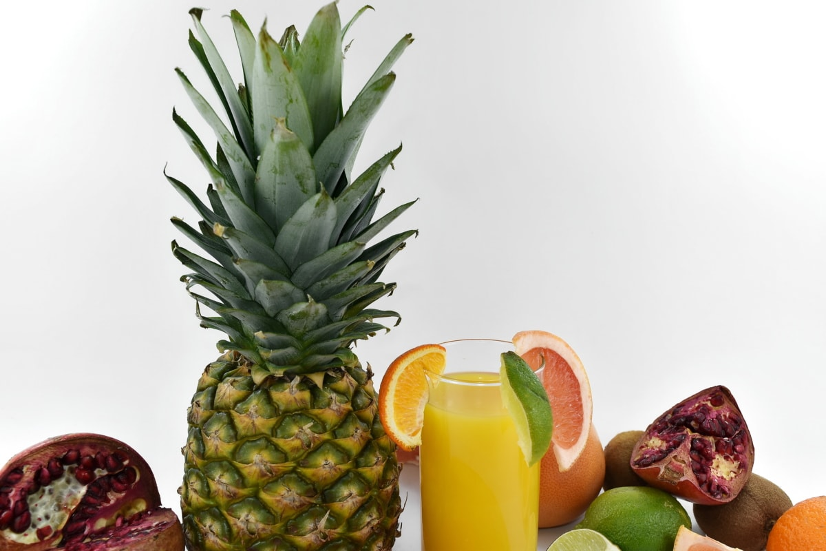 citrus, grapefruit, lime, pineapple, pomegranate, ripe fruit, tropical, produce, food, fruit