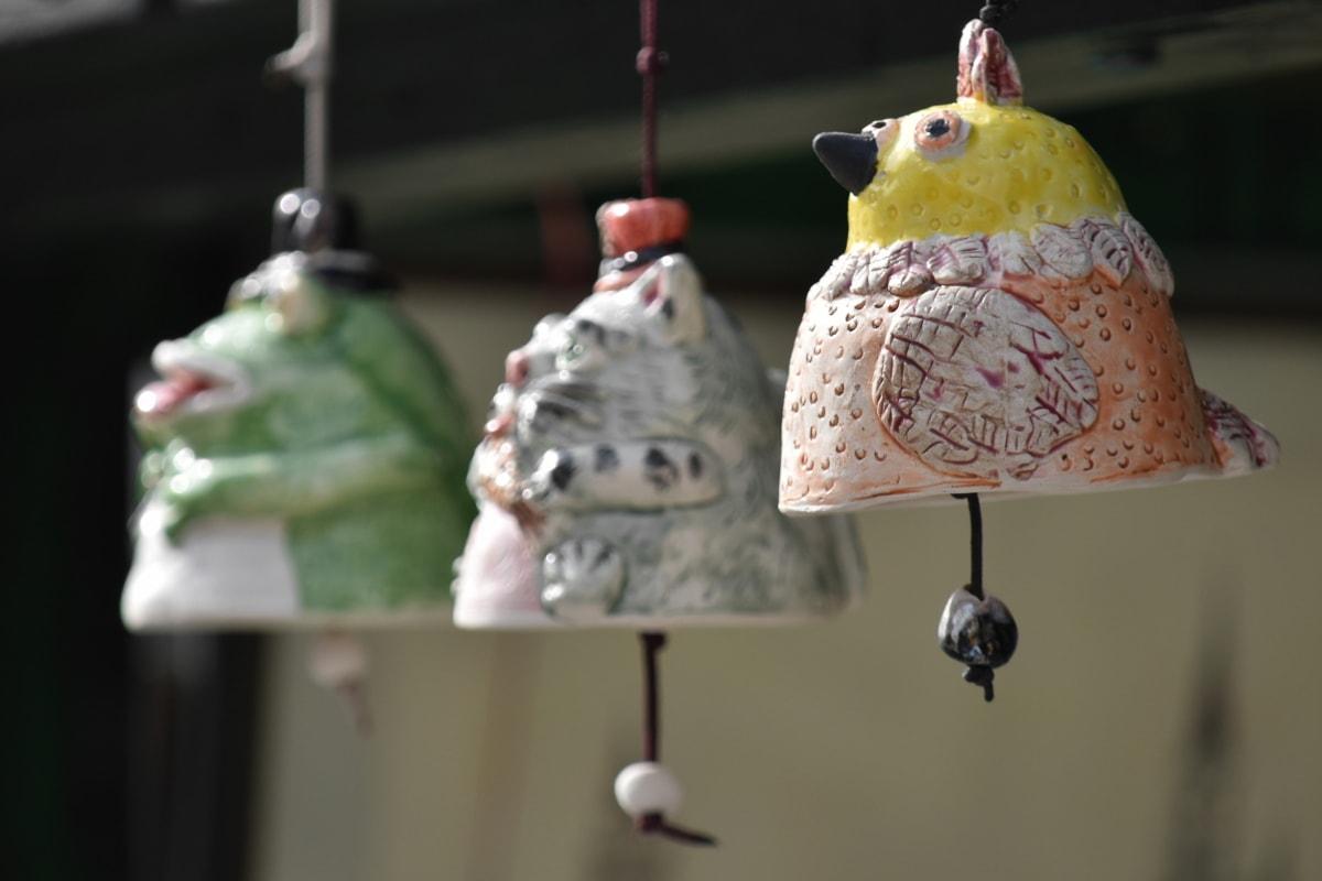 klokke, håndlaget, keramikk, hengende, fuglen, mat, innendørs, dekorasjon, utendørs, tradisjonelle
