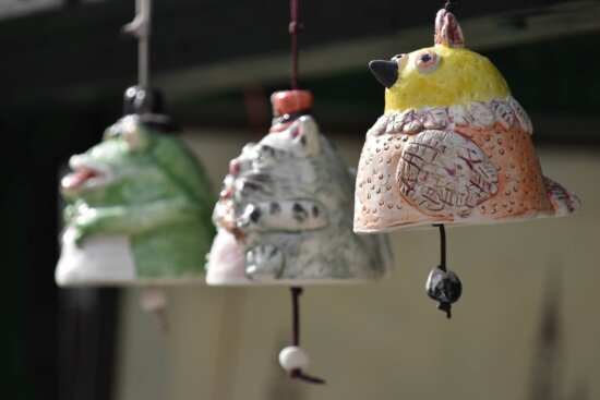 bell, handmade, pottery, hanging, bird, food, indoors, decoration, outdoors, traditional