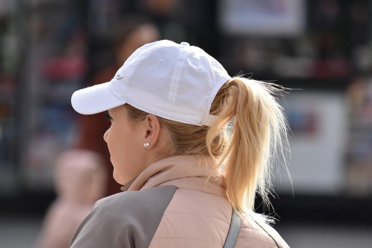 blonde hair, elegance, gorgeous, hat, pretty girl, sport, woman, person, street, portrait