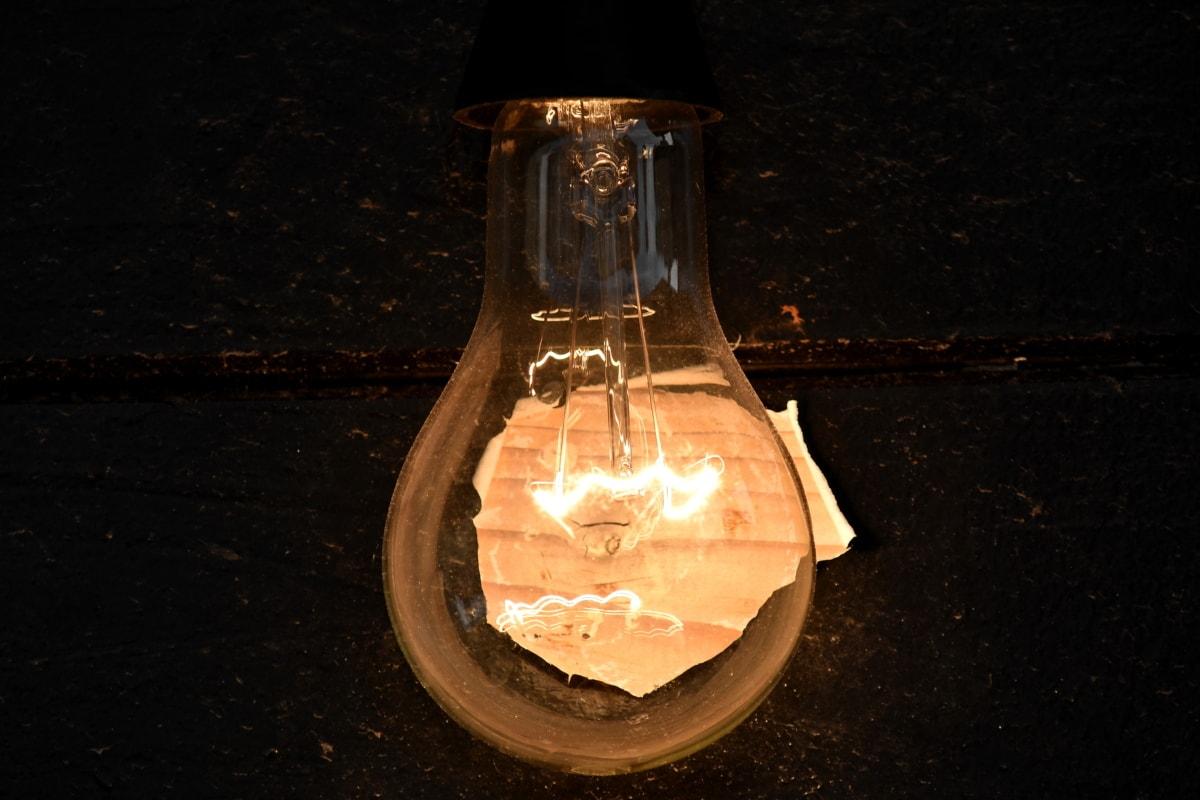 electricity, illumination, light, light bulb, old, reflection, lamp, glass, dark, energy