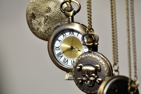 analog clock, brass, hanging, time, mechanism, hand, chain, antique, clock, device
