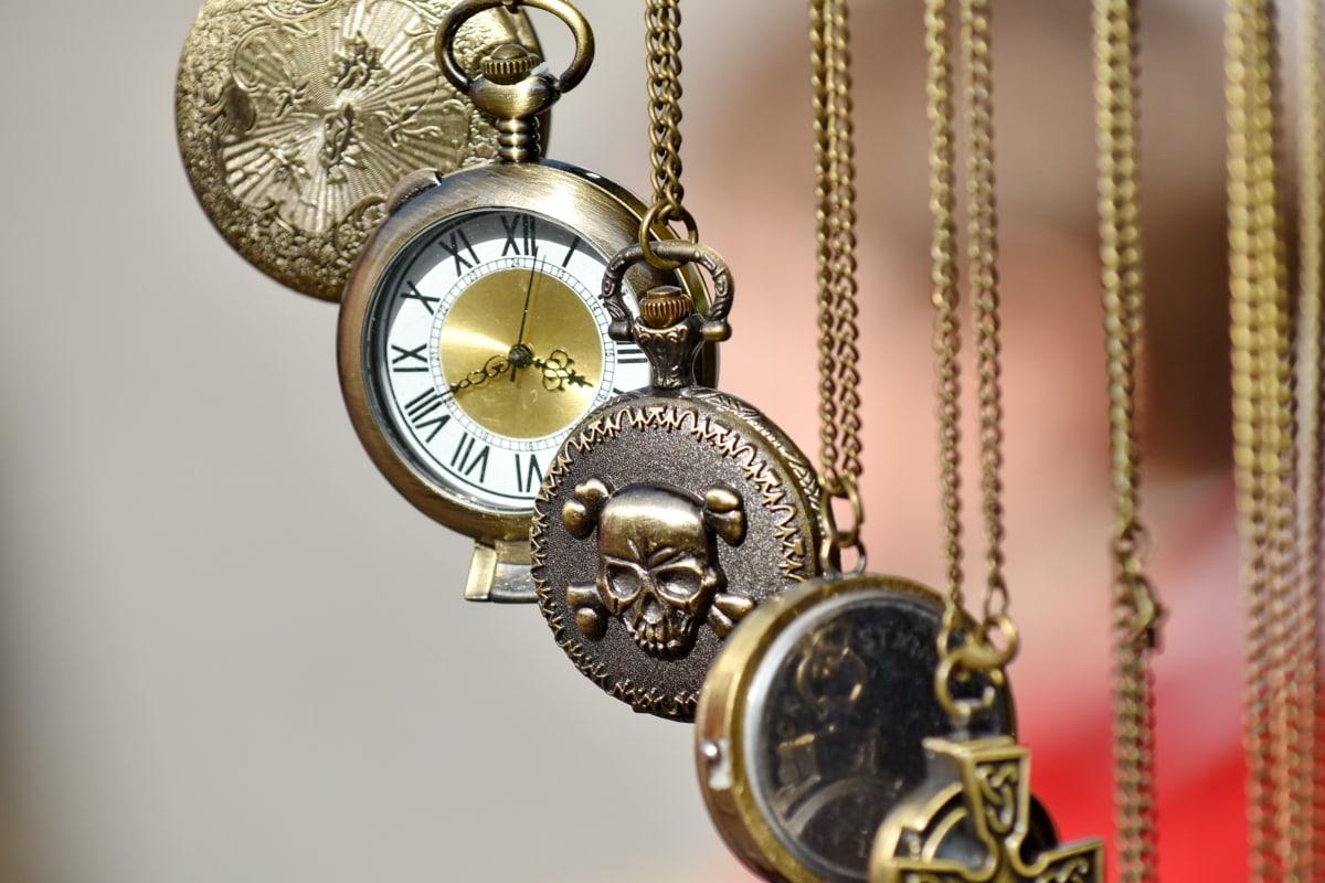 accessory, analog clock, chain, hanging, mechanism, antique, clock, jewelry, decoration, brass