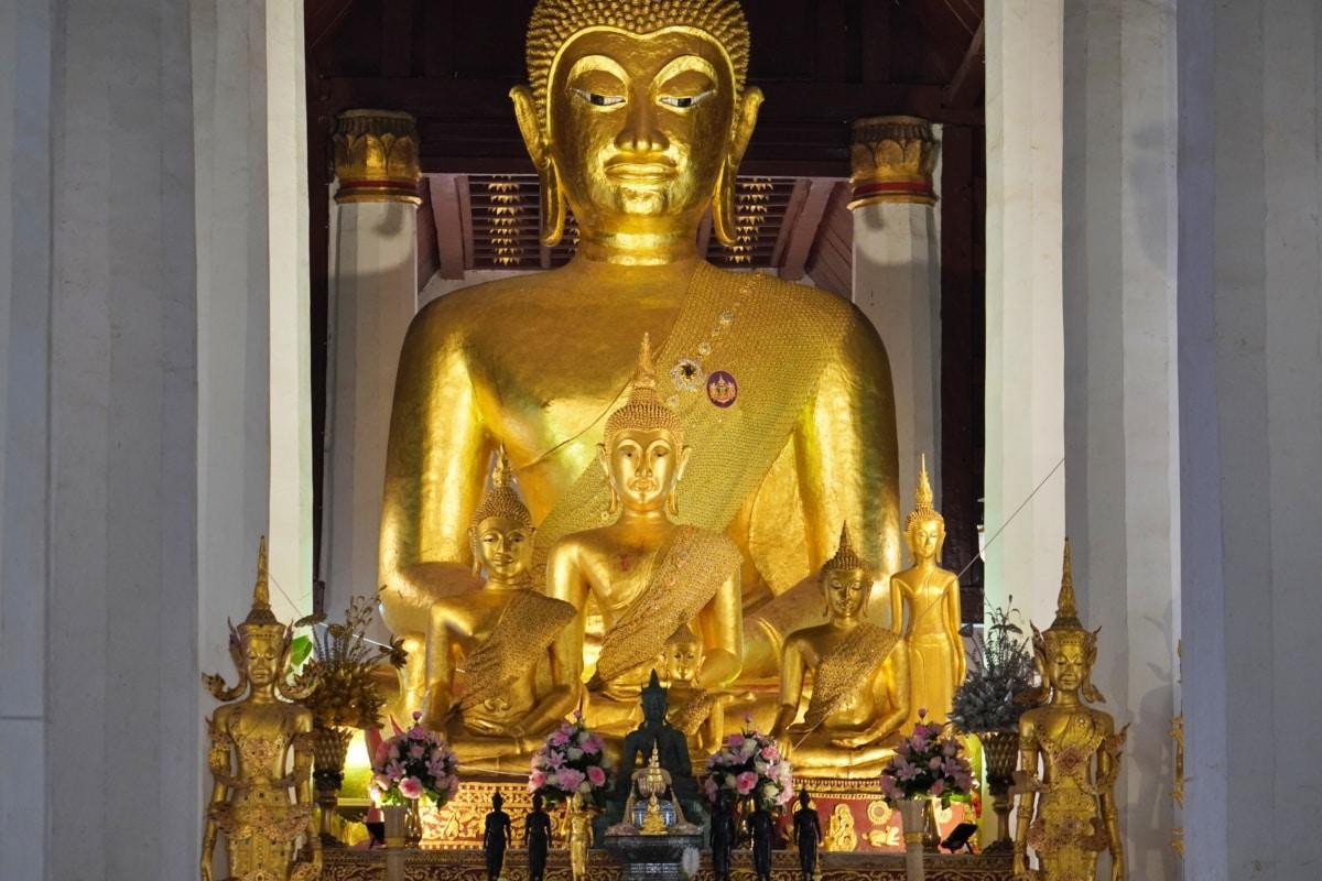 kunst, Boeddha, Boeddhisme, goud, gouden gloed, standbeeld, cultuur, religie, Tempel, beeldhouwkunst