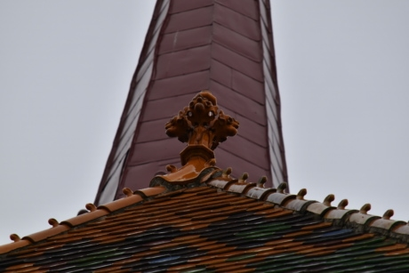 ceramics, church, church tower, decoration, roof, rooftop, tiles, building, tile, material